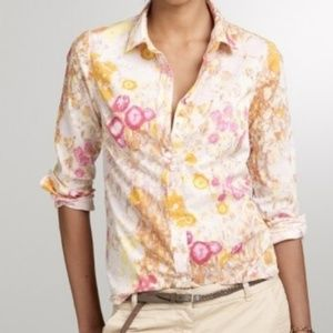 J Crew Sunshine Peonies Perfect Button Down Shirt